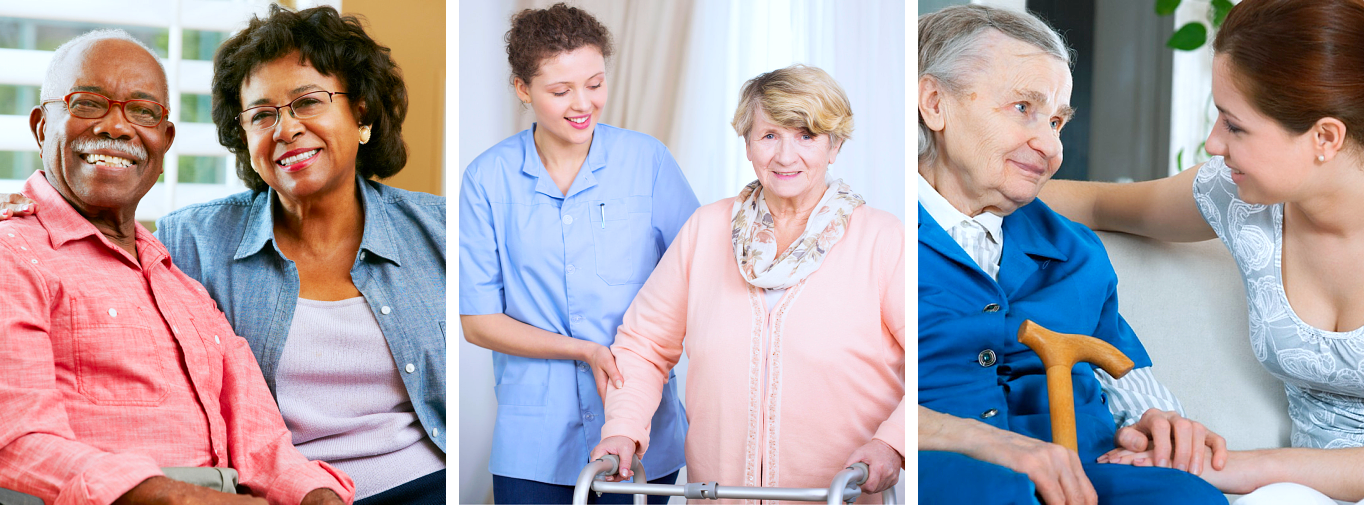 caregiver and senior woman smiling in different images