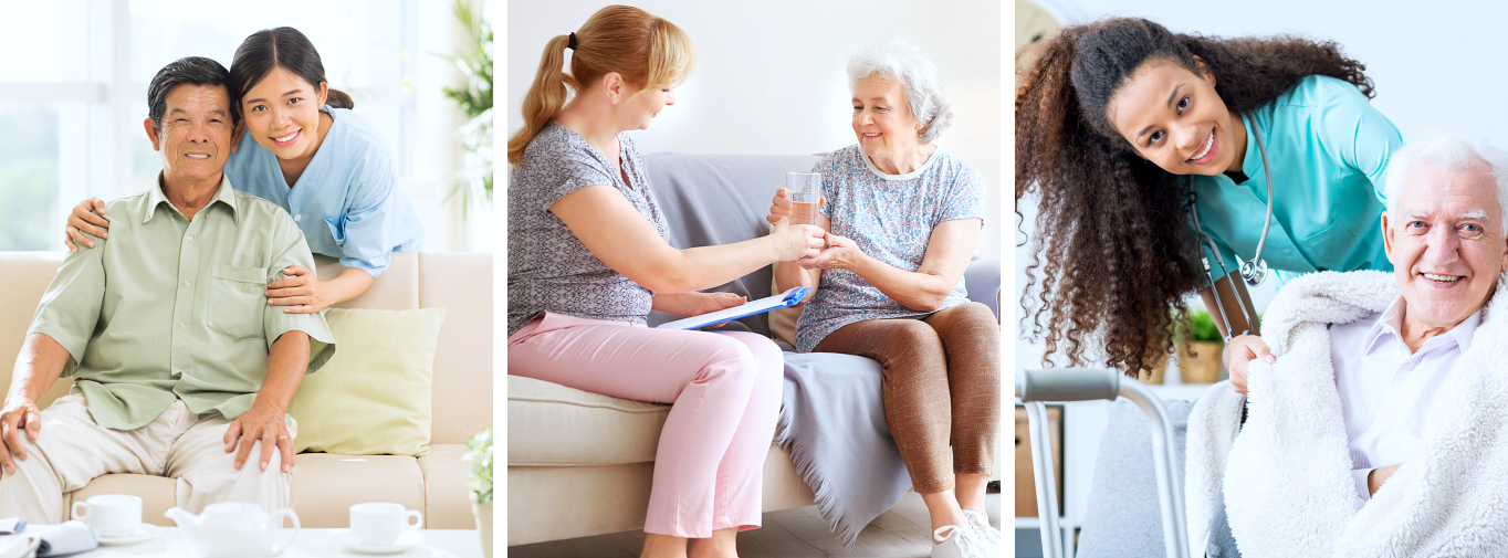 caregiver and seniors smiling in different images